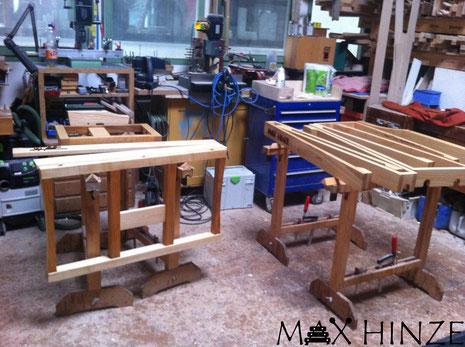 Gestell geölt, zum Trocknen aufgestellt, Max Hinze selbst gebautes Marimba selbstgebautes Marimbaphon DIY