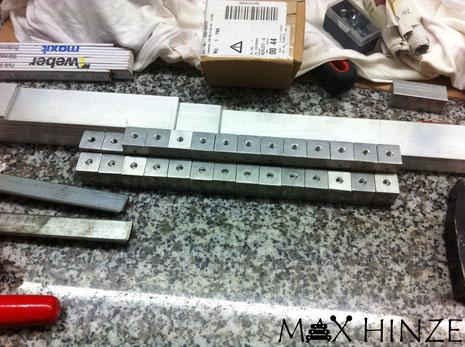 Fertig gebohrte Segmenthalter für die Höhenverstellung der Resonatoren, Max Hinze selbst gebautes Marimba selbstgebautes Marimbaphon DIY