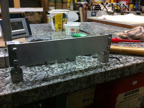 Testaufbau des Resonator-Höhenverstellungssystems, Max Hinze selbst gebautes Marimba selbstgebautes Marimbaphon DIY