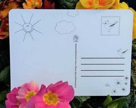Postkarte zum ausmalen - Frühling - beidseitig bedruckt mit Vögeln und Sonne - Rückseite