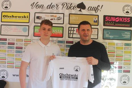 Peter Heinz und Trainer Patrick Wojwod. Bild: Aufm Platz