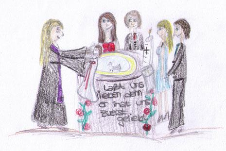 """Bildgrafik """"Taufe"""" von Emily Butterweck"""