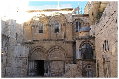 The main entrance to the Holy Sepulcher Church