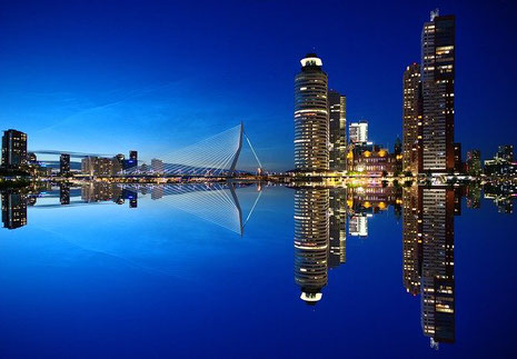 Skyline of Rotterdam in the Netherlands