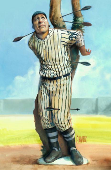 Immagine tratta da Sport Illustrated che raffigura Fred Merkle trafitto dalle freccie