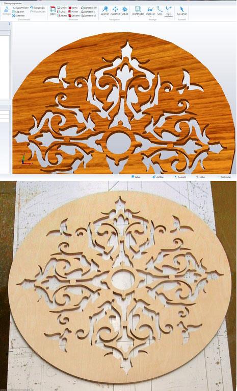 Ornament im Rendering und als gefertigtes Element