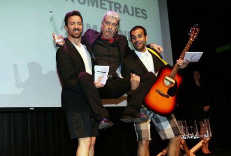 Pablo Puyol, Óscar Ladoire y David Ordinas en los Premios Zonazine 2014