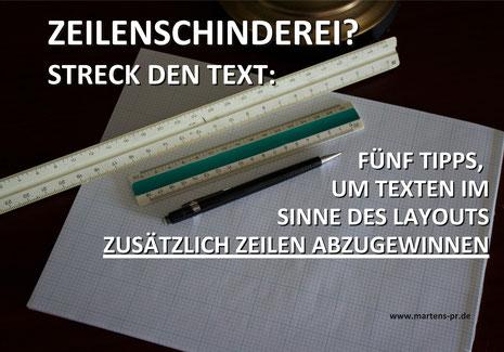 Zeilenschinderei? Martens PR mit ein paar Kniffen, um Texte auf die richtige Länge zu bringen. Jens Martens hilft gerne weiter