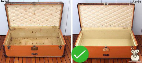 On this orange Vuittonite trunk where the interior is restored in our workshops respecting: