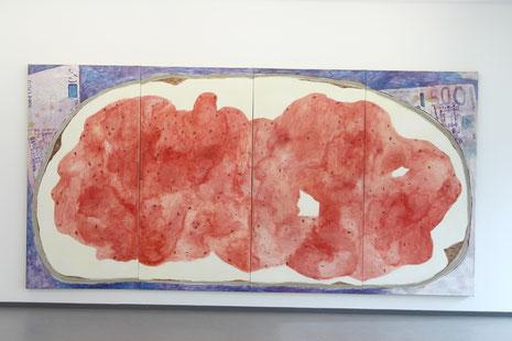 """Eva Hradil """"Brotberuf Malerei, Erdbeermarmelade"""" 2015/2016, Eitempera auf Halbkreidegrund auf LW, 200 x 400 cm, Ausstellungsansicht"""