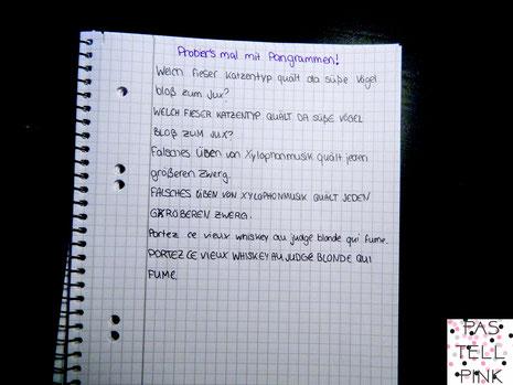 Pangramm üben Handschrift verbessern