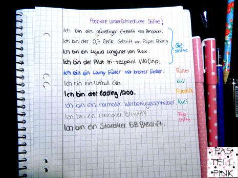 Stifte ausprobieren Handschrift verbessern Schreiben