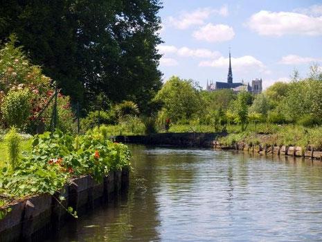 La cathédrale d'Amiens depuis les Hortillonages© CDT Somme - AB