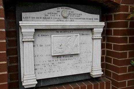 Denkmal für die Kapelle der Titanic in Southampton