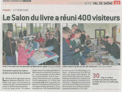 Article du quotidien Le Progrès de l'Ain sur le Salon du Livre de Frans 2016 avec l'illustratrice Cloé Perrotin et l'auteure Marie Garnier