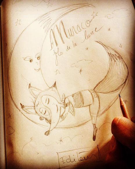 Recherche d'idée pour la couverture pour le projet de livre de Cloé Perrotin et de Sandrine Guichard : Muraco fils de la lune
