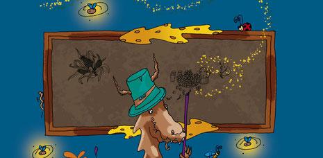 Le professeur dragon du livre Le dragon qui créa le pop-corn écrit par Fany Vereecken et illustré par Cloé Perrotin