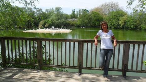 Photo de l'auteure Christine Arnoux en pleine nature avec des oiseaux