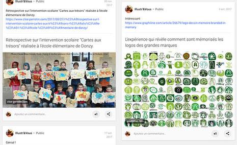 Capture d'écran de posts intervention scolaire et veille graphisme logos Starbucks de Cloé Perrotin sur le réseau social Google +