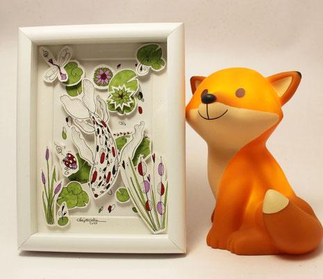 Illustration de carpe koï en papiers découpés par l'illustratrice Cloé Perrotin