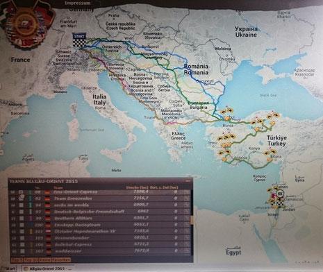 GPS Live-Tracking Karte. Linien einzelner Teams und die Nadel von Team 88 beim Ziel in Jordanien.