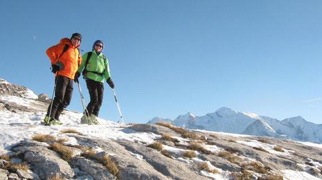 Aurélie et Gilles sur la Crête des Hippocampes, sur fond de Mt-Blanc