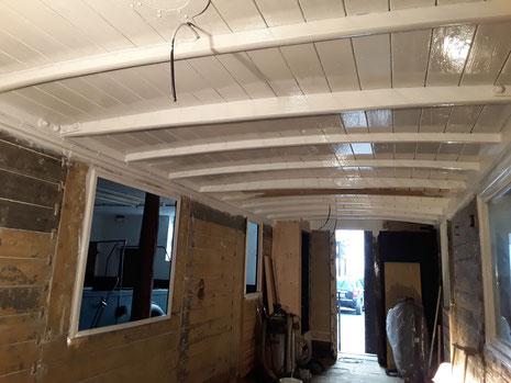 Kerkerbachbahn, Wagen 19, Innenraum, Dach gestrichen