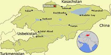 Kirgistan, Kyrgyztan, Landkarte