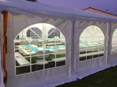 Location de tentes de réception, barnums, tivolis en toile PVC 500g/m²