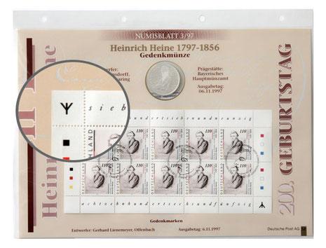 Numisblatt 10 DM Heinrich Heine mit Runen