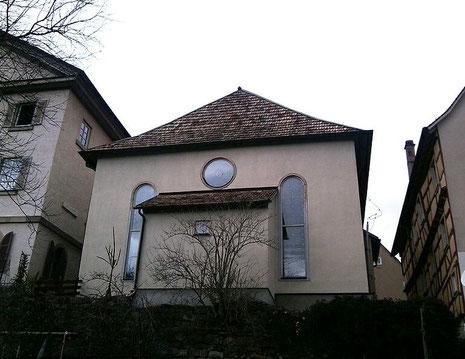 Rückseite der Misrachwand der Hechinger Synagoge mit einem Rest der alten Stadtmauer, von Südost. Foto: Gabriel Werner