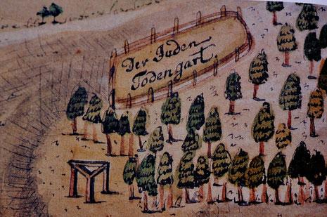 Der jüdische Friedhof am Galgenrain im Jahr 1787, mit freundl. Genehmigung aus: Otto Werner: Synagogen und jüdischer Friedhof in Hechingen, Hechingen 1996, Seite: 90.