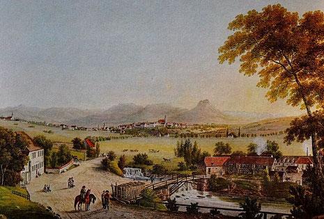 Das Getto in der Friedrichstraße (rechts), in Bildmitte dieses Ausschnittes die Stadt Hechingen und der Zoller. Ausschnitt aus einem Kupferstich von J.H. Bleuler. - Aus: Otto Werner 1996: 24