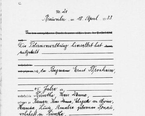 Auszug aus der Sterbeurkunde von Ernst Bronheim. (Quelle: Gedenkstätte Brauweiler)