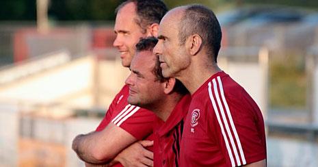 Das Trainergespann der ersten Mannschaft des 1. FC Kalchreuth: Wolfgang Lutz, Thomas Dörsch und Michael Maurer.