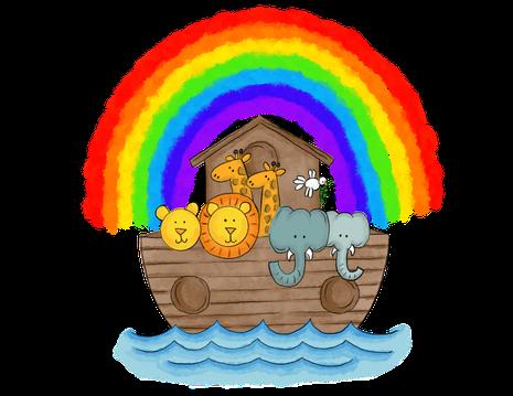 Das Logo des Fördervereins KiTa Mengeringhausen e.V.: es zeigt die Arche unter einem Regenbogen. Sinnbild für die beiden Häuser unserer KiTa.