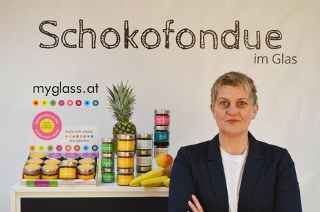 Verena Feichtenschlager Cliniclown und myglass Schokofondue und Müsli im Glas Erfinderin