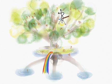 ゲルマン神話世界を支える世界樹ユグドラシル(のつもり)