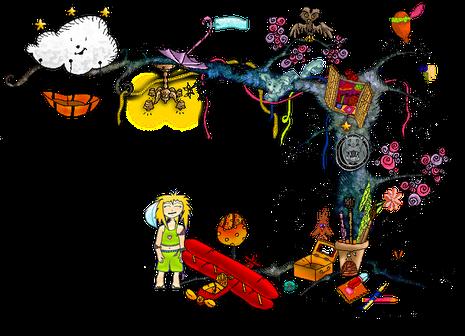 Illustration d'un arbre aux rêves sur le thème de l'enfance par l'illustratrice Cloé Perrotin