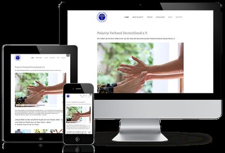 Homepage Polarity Verband Deutschland e.V. on various screen-sizes