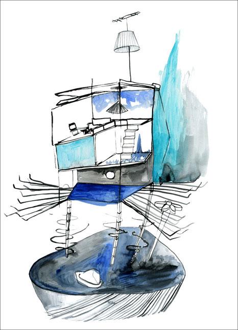 Kalimbahaus, 2009, Tusche und Aquarell auf Papier, 42 x 59,4 cm
