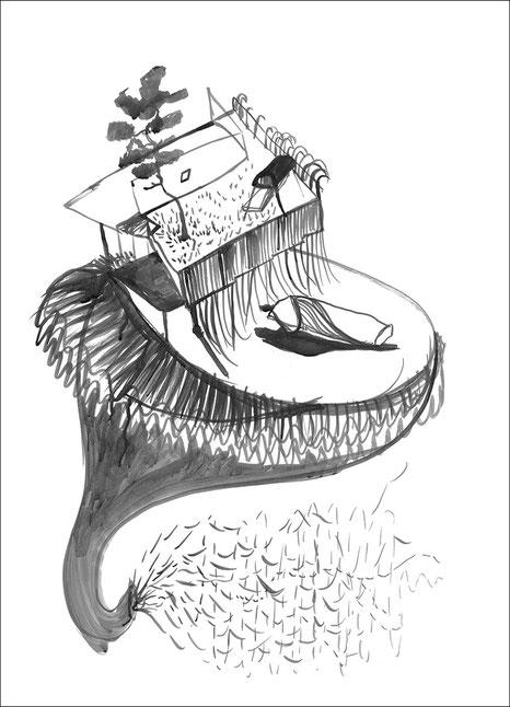 Tornado, jetzt!, 2007, Tusche auf Papier, 42 x 59,4 cm