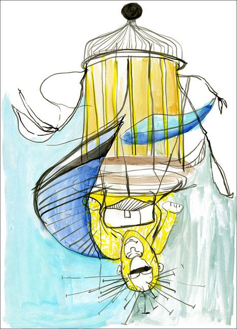 Affenrotunda, 2009, Tusche und Aquarell auf Papier, 42 x 59,4 cm