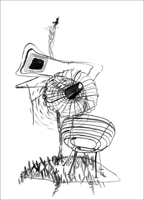 Tom Vac für eine Insel, 2007, Tusche auf Papier, 29,7 x 42 cm