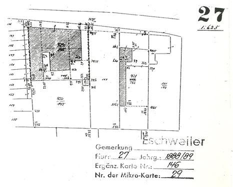 Lageplan – unbebaut (mit freundlicher Genehmigung des Kataster-  und Vermessungsamtes beim Kreis Aachen)