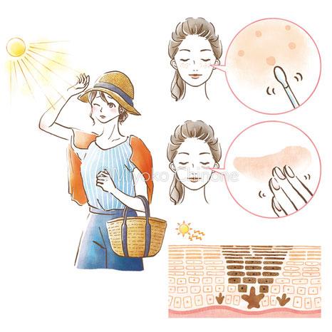 日差しとシミを気にする女性のイラスト