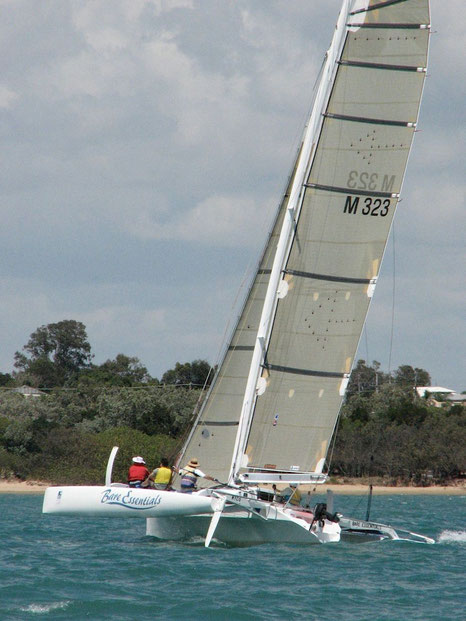 Trimaran Bare Essentials racing on Hervey Bay
