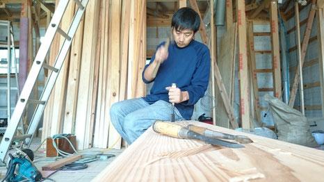 自然素材の階段 杉材