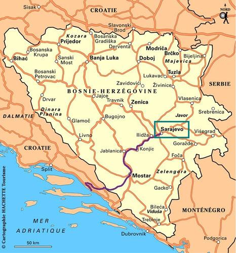 carte routard trajet bigousteppes bosnie