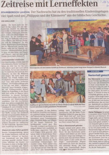 Bericht über die Kindersingetage im Februar 2015 (Naumburger Tageblatt)